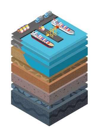 Soil Layers cross section geological sea surface ship harbor 向量圖像