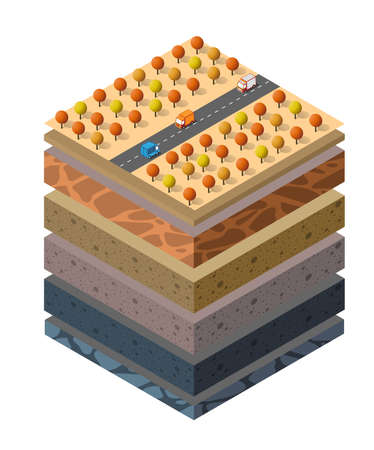 Soil layers cross-section geological and underground beneath 向量圖像