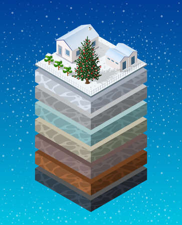 Soil layers Christmas winter new year cross-section