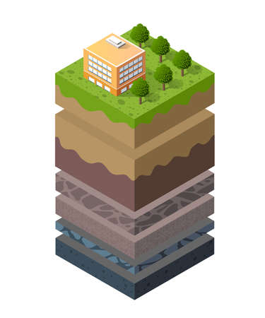 Geological and underground layers of soil under the isometric