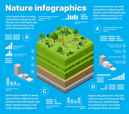 Infographics nature Geological and underground layers of soil under the isometric 向量圖像