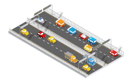 City boulevard isometric avenue. Transport car, urban and asphalt, traffic