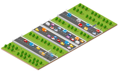 City boulevard isometric avenue. Transport car, urban and asphalt, traffic