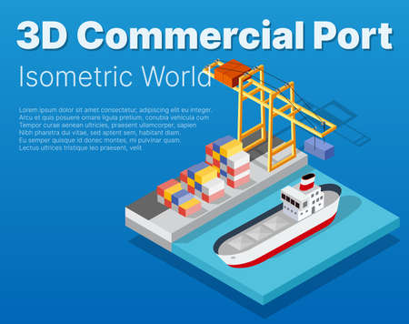 Isometric City industrial dock port with container cargo industry