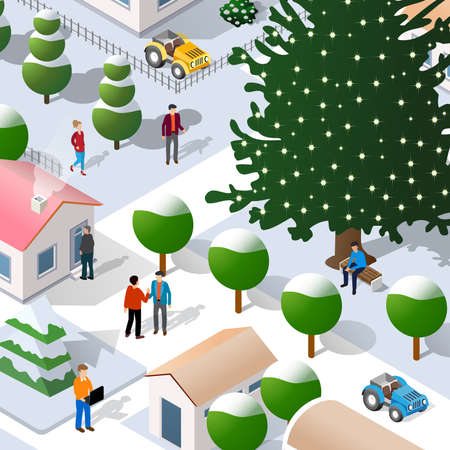 Isometric Street Christmas new year 3D illustration of the city quarter with houses, streets, people, cars. Stock illustration for the design and gaming industry.