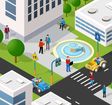 Isometric 3D illustration of the city quarter with houses, streets, people, cars. Stock illustration for the design and gaming industry. Vetores