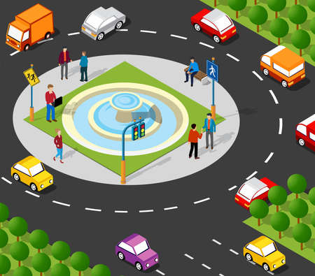 Isometric Street crossroads 3D illustration of the city quarter with houses, streets, people, cars. Stock illustration for the design and gaming industry. Illusztráció