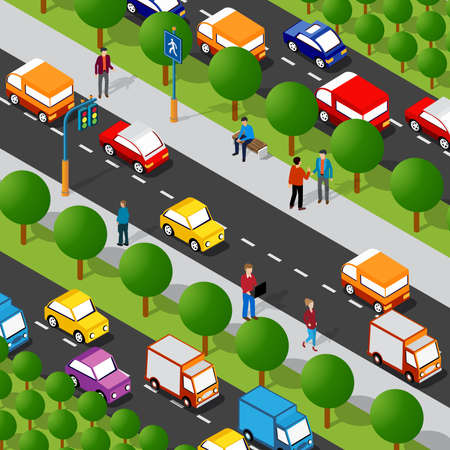 Isometric highway avenue street 3D illustration of the city quarter with people, cars. Stock illustration for the design and gaming industry.