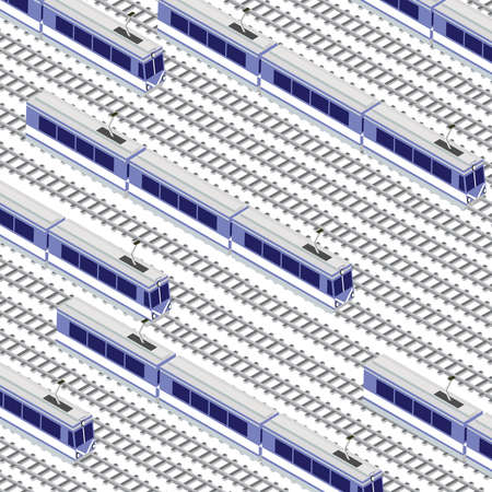Fast modern high-speed train. Vector flat 3d isometric illustration of public transport.