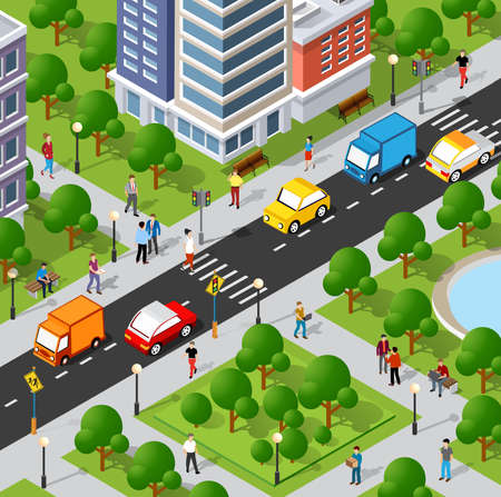 Isometric 3D illustration of the city quarter with houses, streets, people, cars. Stock illustration for the design and gaming industry.