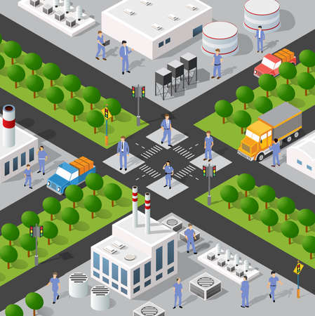 Isometric 3D illustration of the Industrial district city quarter with houses, streets, people. Stock illustration for the design and gaming industry. Illusztráció