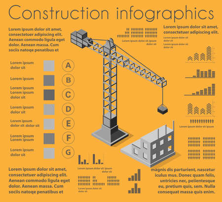 Set of construction infographics, development of residential buildings and structures, industrial crane and workers