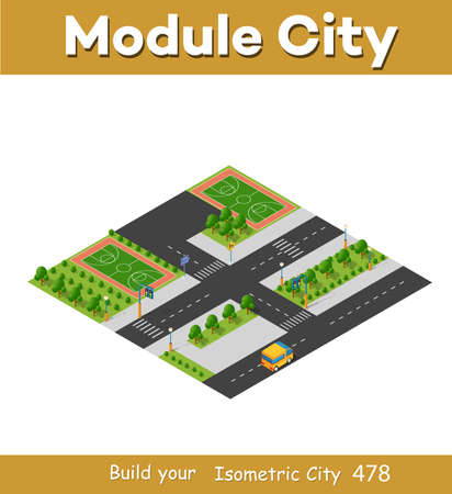 Isometric 3d block module of the district playground part of the city with a lawn park trees from urban infrastructure vector