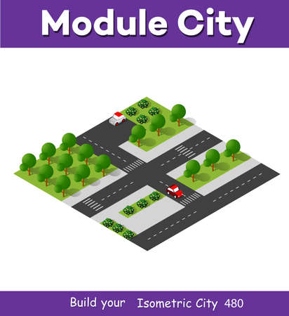 Isometric 3d block module of the district part of the city with a lawn park trees from urban infrastructure vector Vettoriali