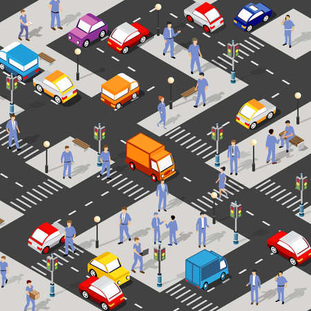 Isometric Street crossroads 3D illustration of the city quarter with streets, people, cars. Stock illustration for the design and gaming industry.