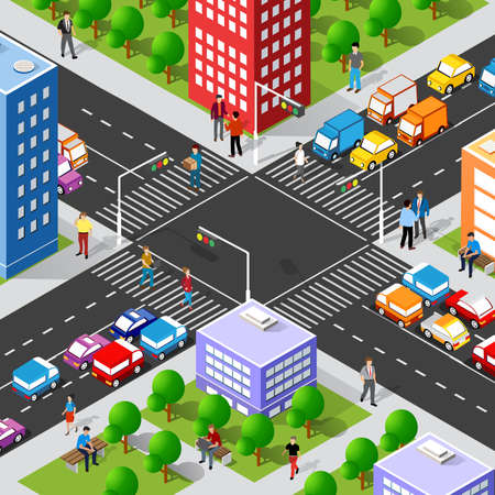 Isometric Street crossroads 3D illustration of the city quarter with houses, streets, people, cars. Stock illustration for the design and gaming industry.