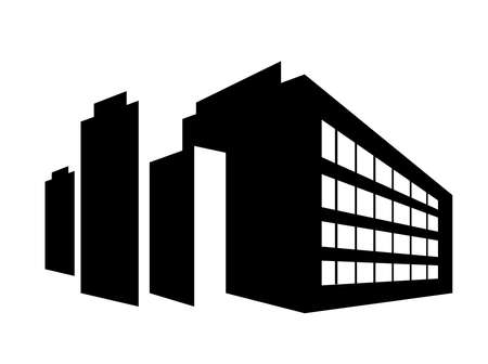 Industrial building facility silhouetted urban building retro style architecture 矢量图像
