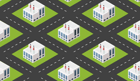 City plant factory industrial isometric urban design elements. Seamless repeating pattern urban concept industrial design 矢量图像