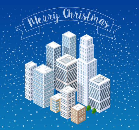 Winter Christmas snowflake snowfall landscape snow covered the futuristic isometric city from smart business technology, digital modern concept background holiday