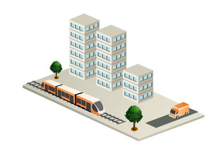 The smart building train tram subway architecture is an idea of technology business equipment flat style urban isometric illustration