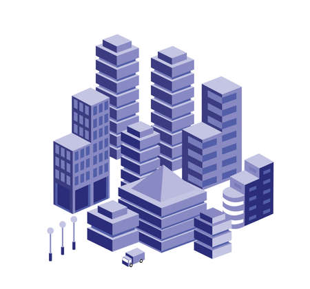 The smart building home architecture is an idea of technology business equipment flat style urban isometric illustration