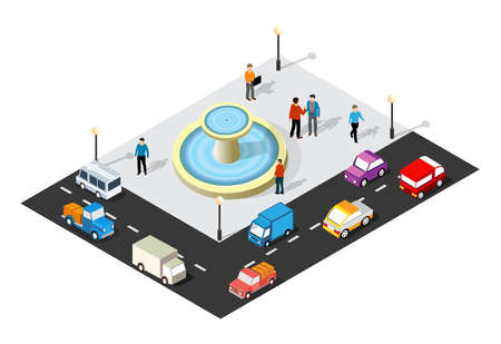 Isometric 3D illustration of the city quarter with streets, people, cars. Stock illustration for the design and gaming industry. 矢量图像