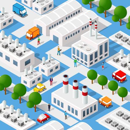 City plant factory industrial isometric urban design elements. Vettoriali