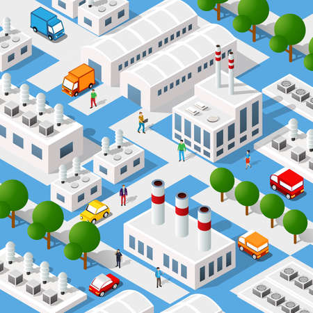 City plant factory industrial isometric urban design elements. 矢量图像