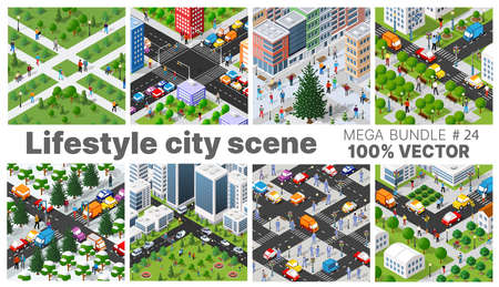 The city's lifestyle scene set illustrations on urban themes with houses, cars, people, trees and parks. Concept isometric 3d vector for design, games, web.