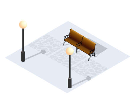 Isometric Winter Park with snow. A conceptual object for web gaming, design and creativity.