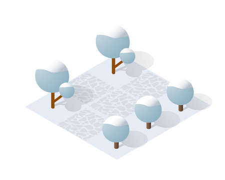 Isometric Winter Park with snow, trees. A conceptual object for web gaming, design and creativity.