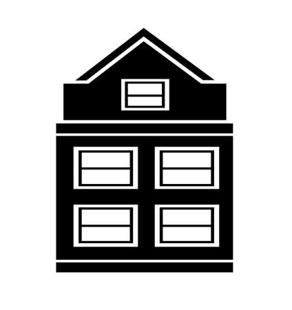 Icon of real estate commercial, residential and industrial black isolated retro flat building, house, home web button vector illustration 矢量图像