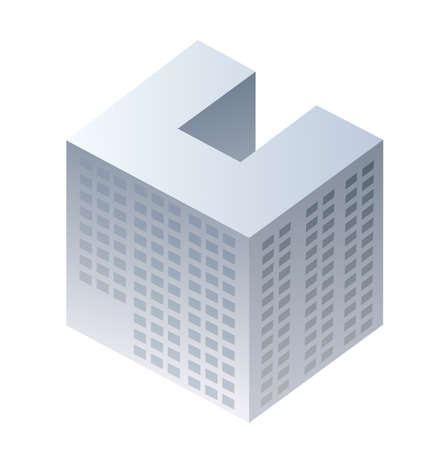Isometric 3D dimensional skyscraper building of the modern architecture of urban construction.