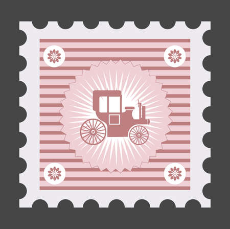 Old postage stamp with the image of vehicles, car.