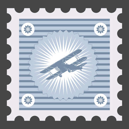 Old postage stamp with the image of airplane. 矢量图像