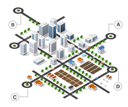 City isometric infographics there are diagram, building, road, park, transportation and trees in the area of the town 矢量图像