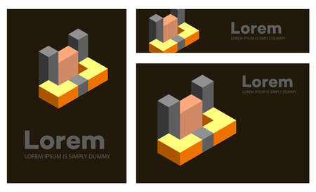 Abstract figures, set of geometric objects for a conceptual template. Isometric for business card and presentations logos, corporate scenery