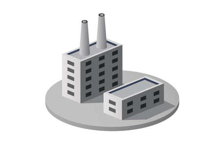 Isometric 3D city module industrial urban factory infographic element