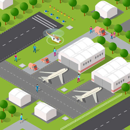 Isometric 3D illustration of the city airport planer with streets, people, cars. Stock illustration for the design and gaming industry.