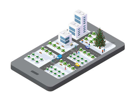 3D map of isometric city mobile phone on the street. Navigation technology concept for travel and business background.