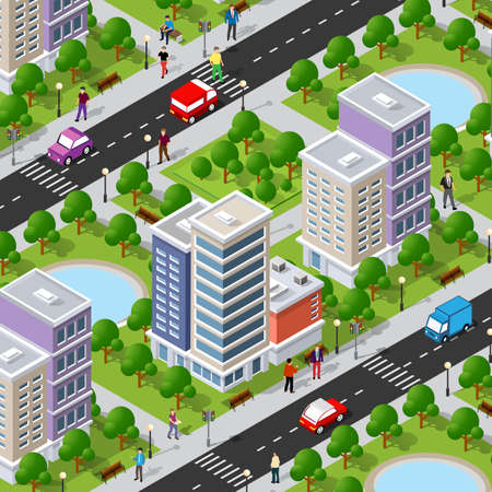 Isometric 3d street downtown architecture district part of the city with outdoor road buildings. 矢量图像