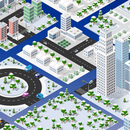 Isometric set of blocks module of areas of the city construction of the perspective city of design of the urban environment. 3D illustration template infographics industrial infrastructure