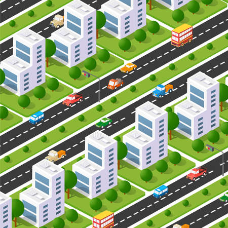 City boulevard isometric avenue. Transport car, urban and asphalt, traffic. Crossing roads flat 3d dimensional illustration of public town