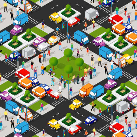 Transport Logistics 3D Isometric City illustrated template infographics industrial infrastructure in conceptual illustration 矢量图像