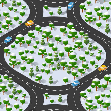 Suburban highway road turn. Isometric view of the projection of a winter landscape. Nature appearance of a forest with trees