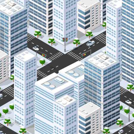 Isometric 3d street downtown architecture district part of the city with outdoor road buildings. City stock infographic illustration 矢量图像
