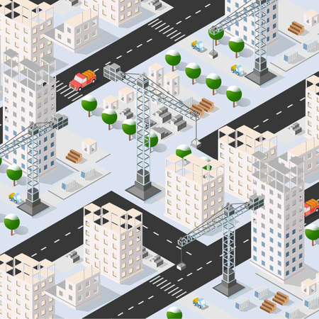 Isometric 3D illustration of the urban building with multiple house and skyscrapers, construction machinery, cranes, and vehicles 矢量图像