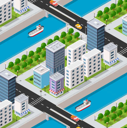 Isometric river embankment 3D illustration of the city quarter with houses, streets, people, cars. Stock illustration for the design and gaming industry.