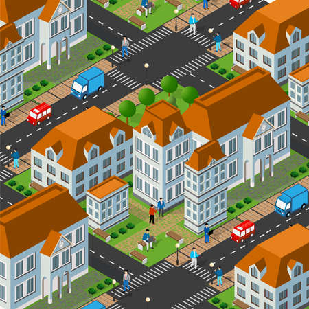 Isometric 3d street downtown architecture district Vector Illustration