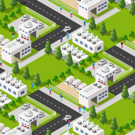City plant factory industrial isometric urban design elements